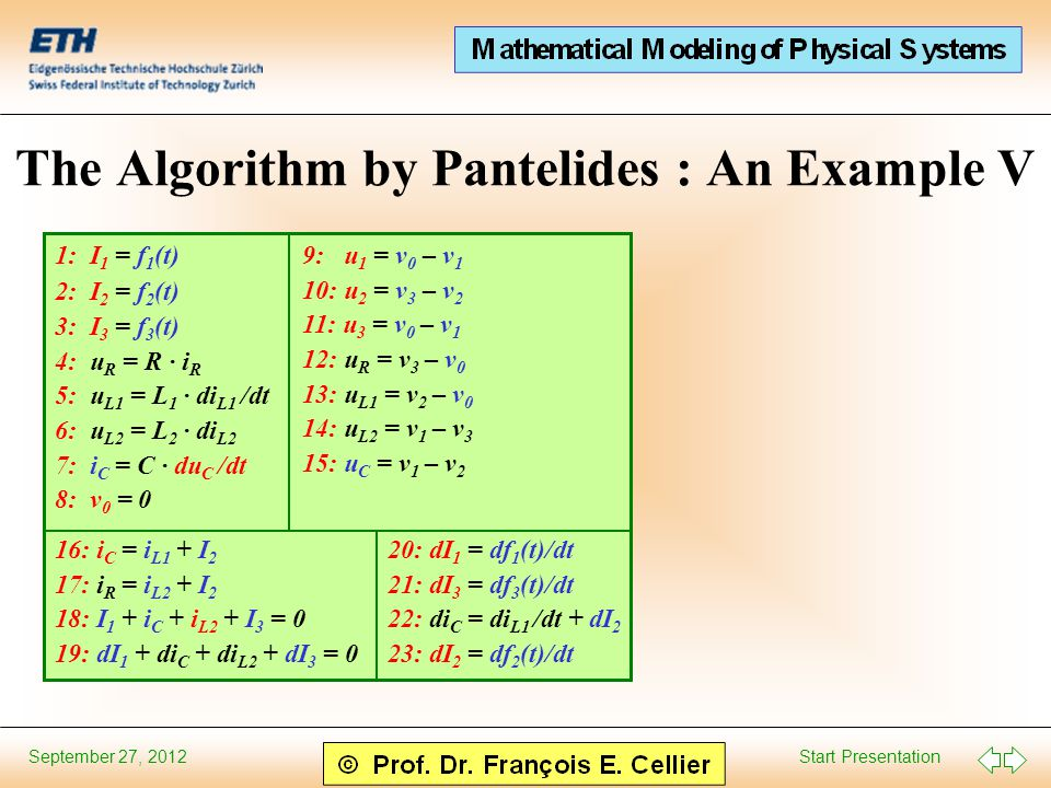 Start Presentation September 27, 2012 The Algorithm by Pantelides : An Example V 9: u 1 = v 0 – v 1 10: u 2 = v 3 – v 2 11: u 3 = v 0 – v 1 12: u R = v 3 – v 0 13: u L1 = v 2 – v 0 14: u L2 = v 1 – v 3 15: u C = v 1 – v 2 16: i C = i L1 + I 2 17: i R = i L2 + I 2 18: I 1 + i C + i L2 + I 3 = 0 19: dI 1 + di C + di L2 + dI 3 = 0 1: I 1 = f 1 (t) 2: I 2 = f 2 (t) 3: I 3 = f 3 (t) 4: u R = R · i R 5: u L1 = L 1 · di L1 /dt 6: u L2 = L 2 · di L2 7: i C = C · du C /dt 8: v 0 = 0 20: dI 1 = df 1 (t)/dt 21: dI 3 = df 3 (t)/dt 22: di C = di L1 /dt + dI 2 23: dI 2 = df 2 (t)/dt