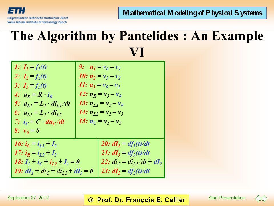 Start Presentation September 27, 2012 The Algorithm by Pantelides : An Example VI 9: u 1 = v 0 – v 1 10: u 2 = v 3 – v 2 11: u 3 = v 0 – v 1 12: u R = v 3 – v 0 13: u L1 = v 2 – v 0 14: u L2 = v 1 – v 3 15: u C = v 1 – v 2 16: i C = i L1 + I 2 17: i R = i L2 + I 2 18: I 1 + i C + i L2 + I 3 = 0 19: dI 1 + di C + di L2 + dI 3 = 0 1: I 1 = f 1 (t) 2: I 2 = f 2 (t) 3: I 3 = f 3 (t) 4: u R = R · i R 5: u L1 = L 1 · di L1 /dt 6: u L2 = L 2 · di L2 7: i C = C · du C /dt 8: v 0 = 0 20: dI 1 = df 1 (t)/dt 21: dI 3 = df 3 (t)/dt 22: di C = di L1 /dt + dI 2 23: dI 2 = df 2 (t)/dt