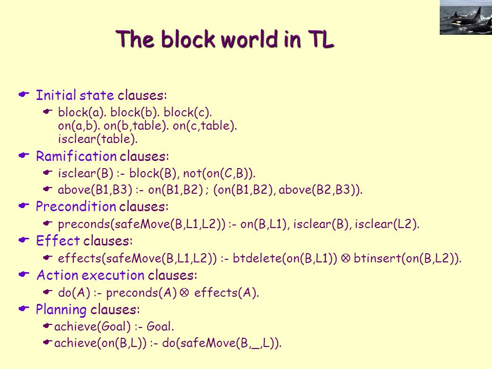 The block world in TL  Initial state clauses:  block(a).