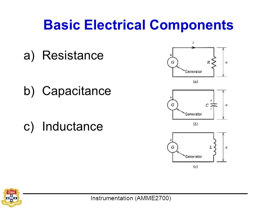 Instrumentation (AMME2700) Basic Electrical Components a)Resistance b)Capacitance c)Inductance