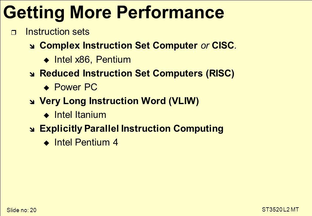 Slide no: 20 ST3520 L2 MT Getting More Performance r Instruction sets î Complex Instruction Set Computer or CISC. u Intel x86, Pentium î Reduced Instr
