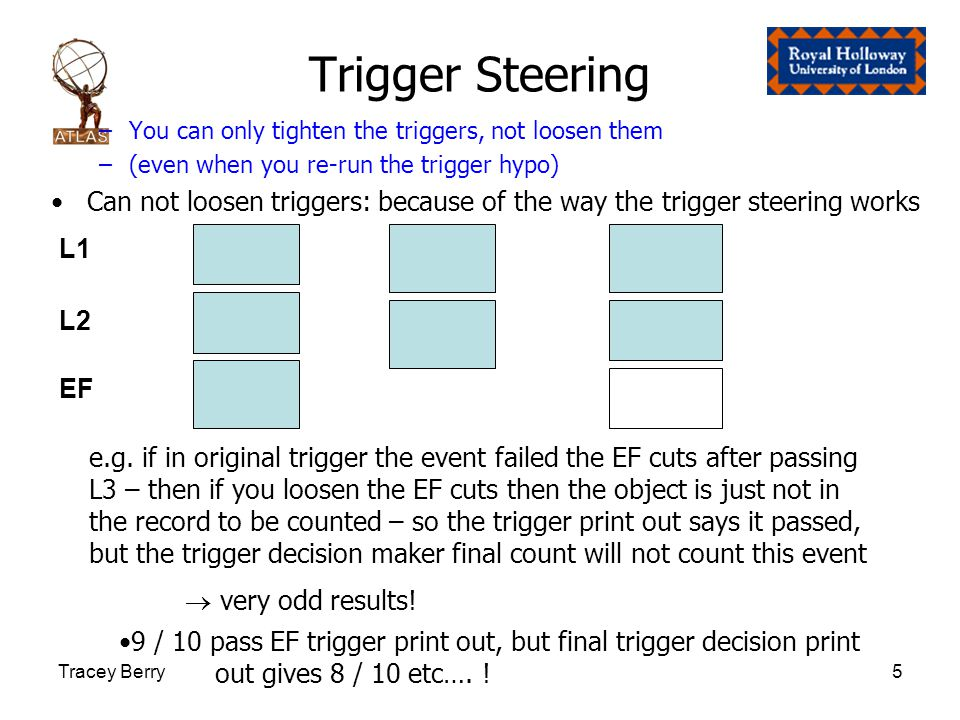 Tracey Berry5 Trigger Steering –You can only tighten the triggers, not loosen them –(even when you re-run the trigger hypo) Can not loosen triggers: because of the way the trigger steering works L1 L2 EF e.g.