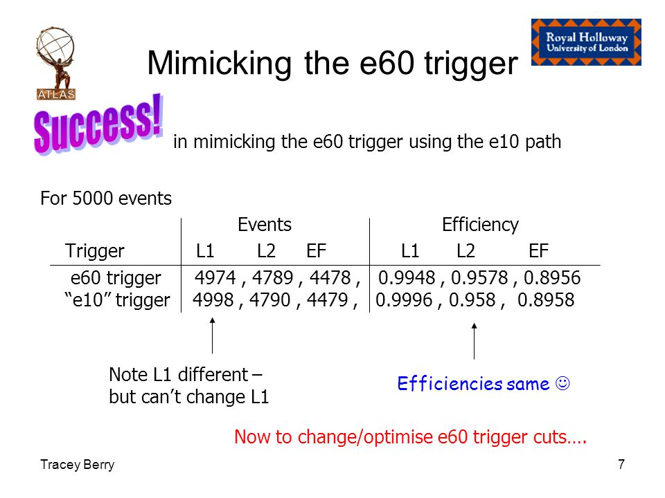 Tracey Berry7 Mimicking the e60 trigger in mimicking the e60 trigger using the e10 path For 5000 events Events Efficiency Trigger L1 L2EF L1 L2 EF e60 trigger 4974, 4789, 4478, 0.9948, 0.9578, 0.8956 e10 trigger 4998, 4790, 4479, 0.9996, 0.958, 0.8958 Note L1 different – but can't change L1 Efficiencies same Now to change/optimise e60 trigger cuts….