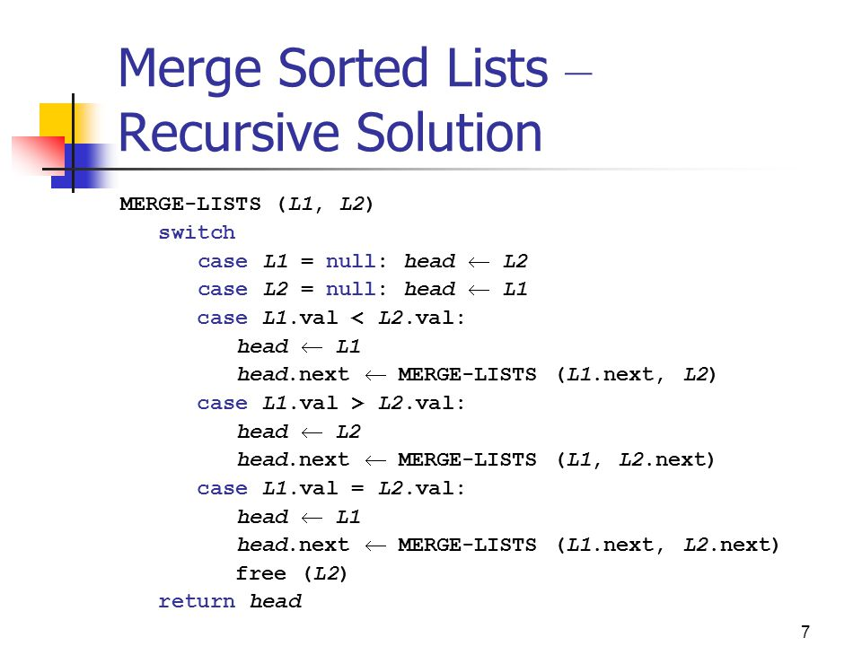 18 Recursive Reverse – Java Implementation private static ListNode reverseRec (ListNode list) { ListNode first, rest; if (list == null) return null; first = list; rest = list.getNext(); if (rest == null) return list; rest = reverseRec (rest); first.getNext().setNext (first); first.setNext (null); return rest; }