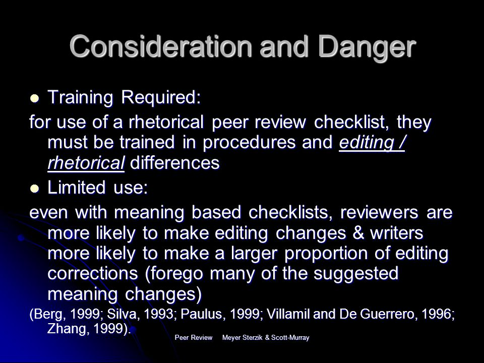 Peer Review Meyer Sterzik & Scott-Murray Meaning Based Checklist 1.