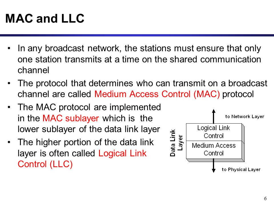 6 MAC and LLC In any broadcast network, the stations must ensure that only one station transmits at a time on the shared communication channel The protocol that determines who can transmit on a broadcast channel are called Medium Access Control (MAC) protocol The MAC protocol are implemented in the MAC sublayer which is the lower sublayer of the data link layer The higher portion of the data link layer is often called Logical Link Control (LLC)