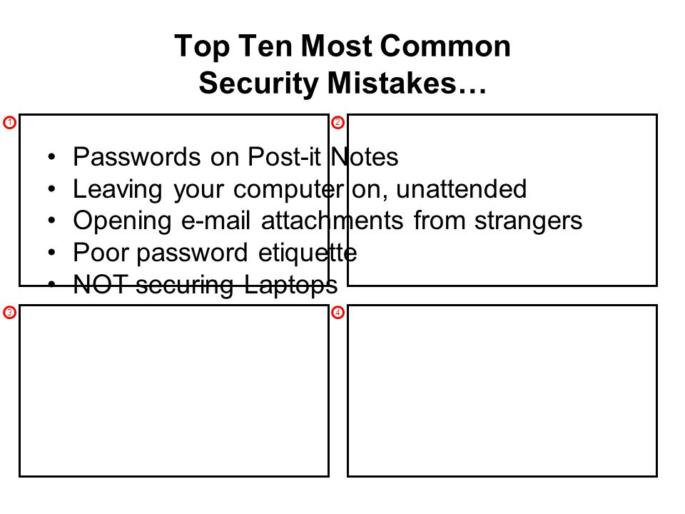 1 3 2 4 Top Ten Most Common Security Mistakes… Passwords on Post-it Notes Leaving your computer on, unattended Opening e-mail attachments from strangers Poor password etiquette NOT securing Laptops