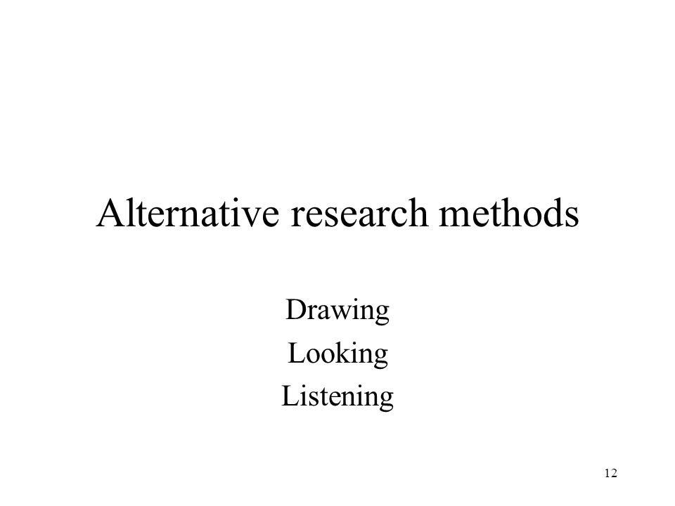 12 Alternative research methods Drawing Looking Listening