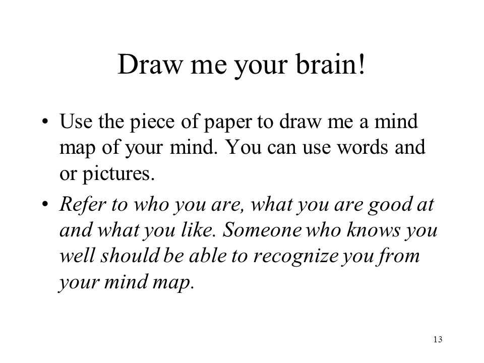 13 Draw me your brain.Use the piece of paper to draw me a mind map of your mind.