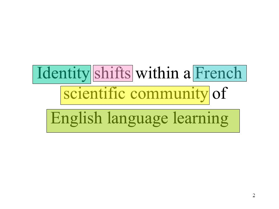 2 Identity shifts within a French scientific community of English language learning