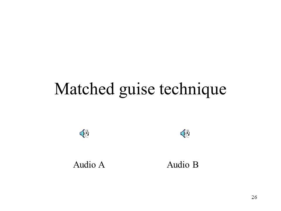 26 Matched guise technique Audio AAudio B