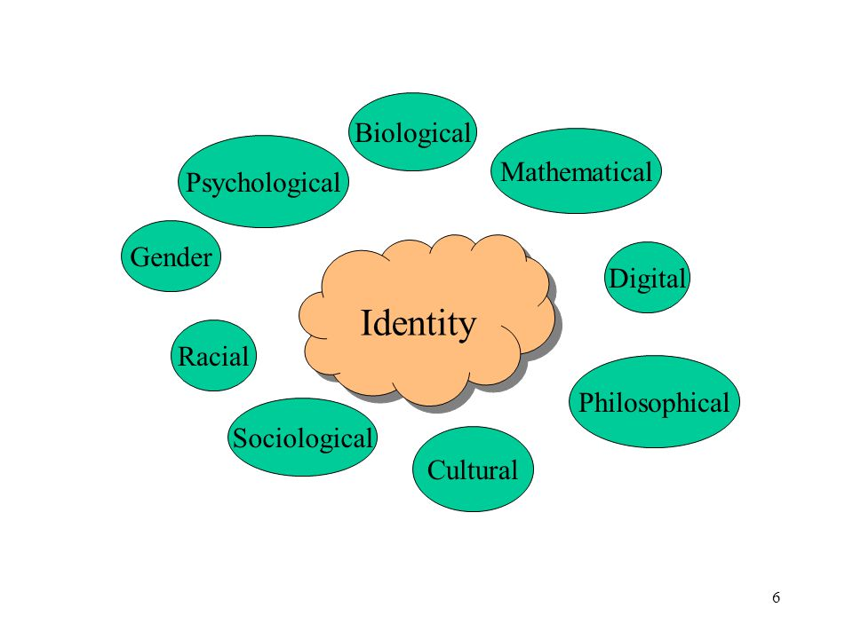 6 Identity Sociological Mathematical Biological Psychological Gender Digital Cultural Philosophical Racial
