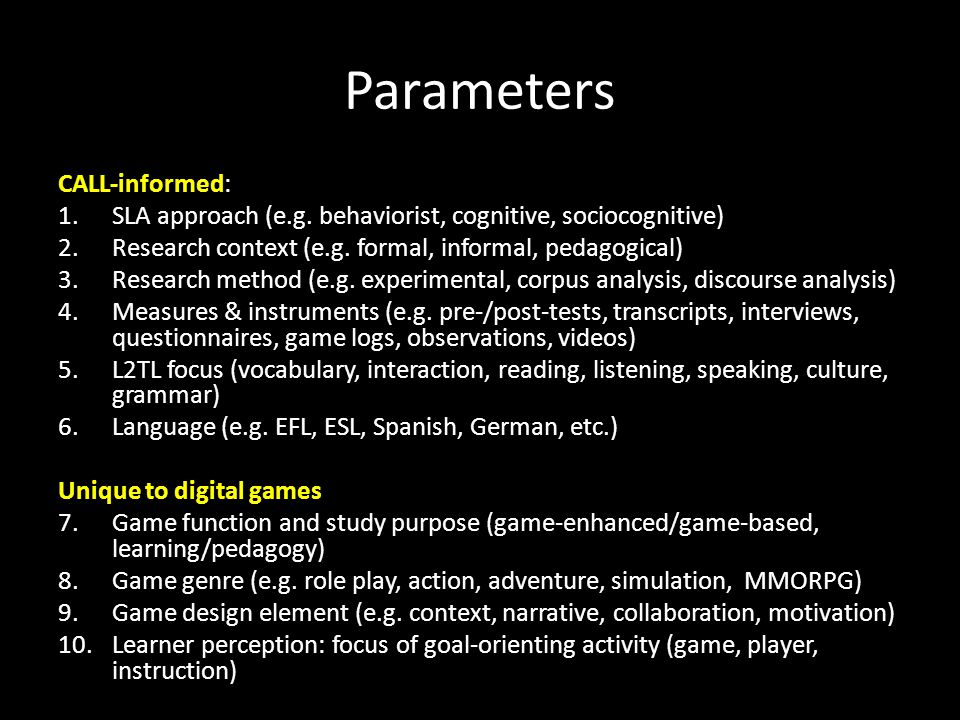 Parameters CALL-informed: 1.SLA approach (e.g.