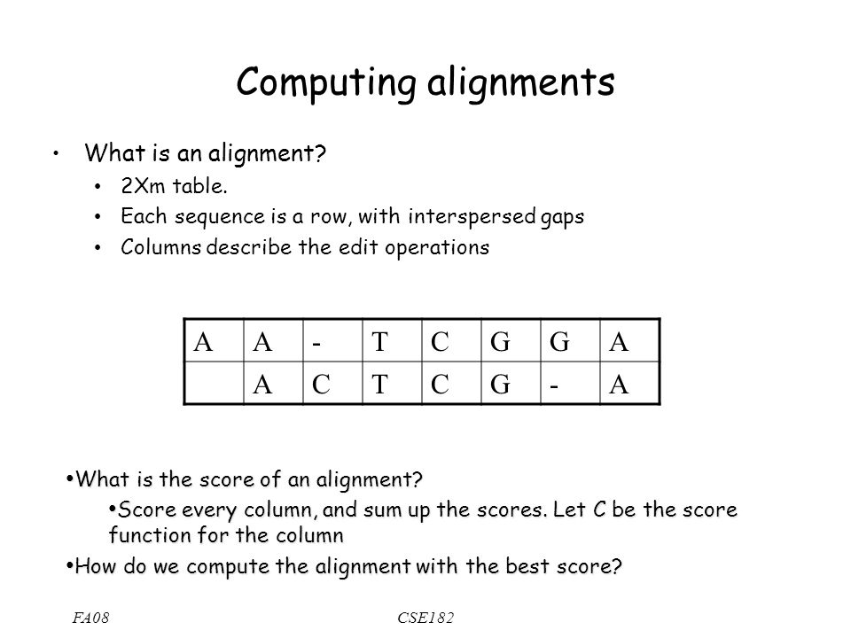 FA08CSE182 Computing alignments What is an alignment.