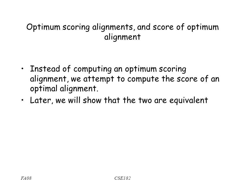 FA08CSE182 Optimum scoring alignments, and score of optimum alignment Instead of computing an optimum scoring alignment, we attempt to compute the score of an optimal alignment.