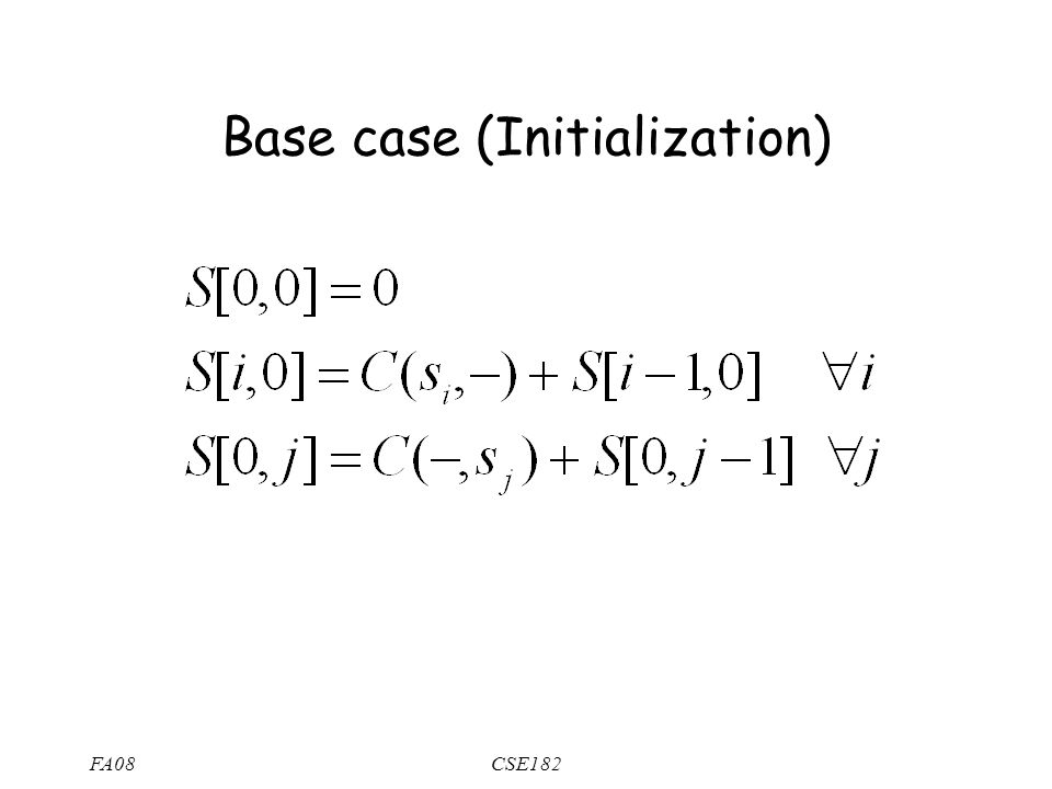 FA08CSE182 Base case (Initialization)