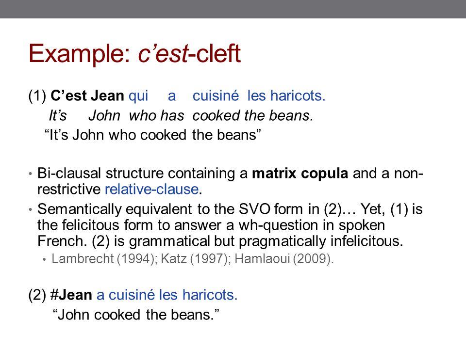 """Example: c'est-cleft (1) C'est Jean qui a cuisiné les haricots. It's John who has cooked the beans. """"It's John who cooked the beans"""" Bi-clausal struct"""