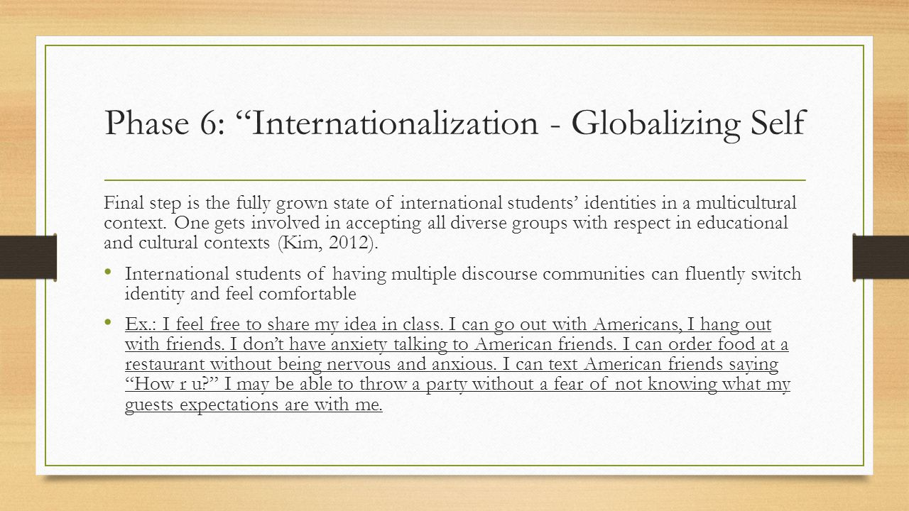 Phase 6: Internationalization - Globalizing Self Final step is the fully grown state of international students' identities in a multicultural context.