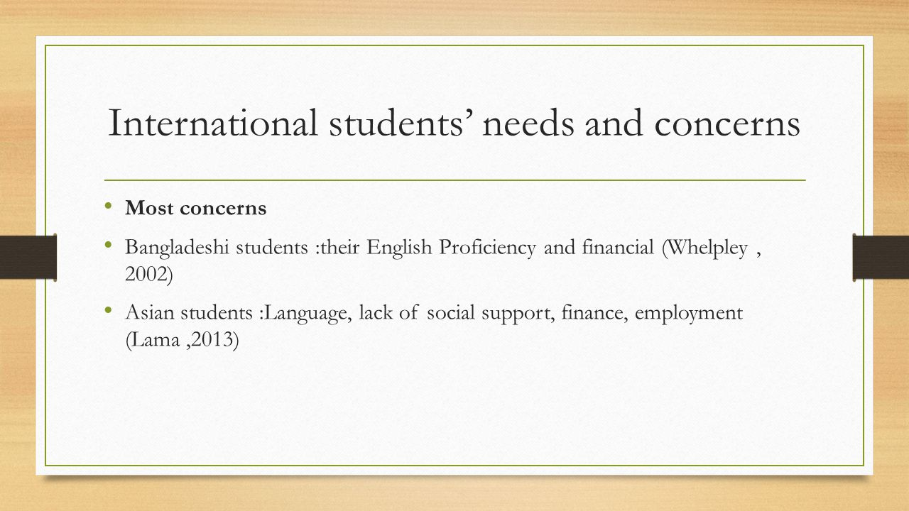 International students' needs and concerns Most concerns Bangladeshi students :their English Proficiency and financial (Whelpley, 2002) Asian students :Language, lack of social support, finance, employment (Lama,2013)