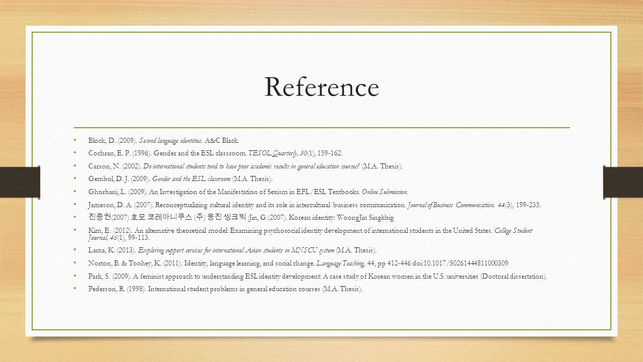 Reference Block, D. (2009). Second language identities.