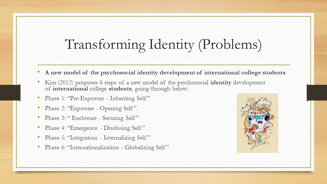 Transforming Identity (Problems) A new model of the psychosocial identity development of international college students Kim (2012) proposes 6 steps of