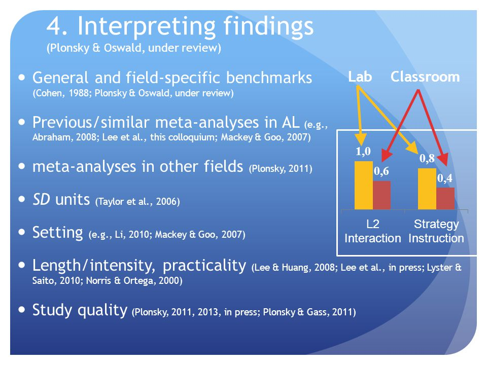 4. Interpreting findings (Plonsky & Oswald, under review) General and field-specific benchmarks (Cohen, 1988; Plonsky & Oswald, under review) Previous