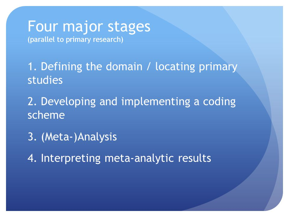 Four major stages (parallel to primary research) 1.