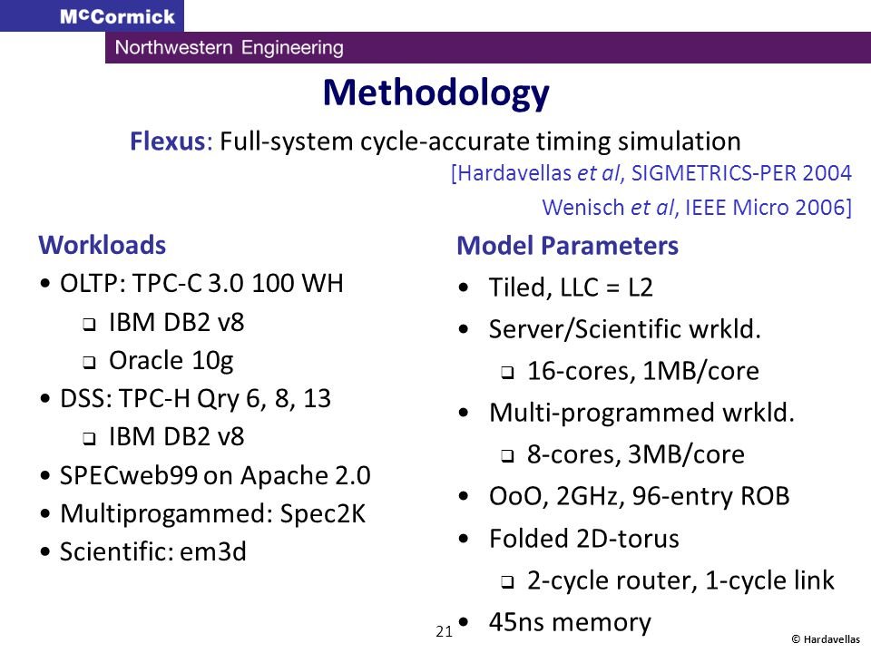 21 Methodology Flexus: Full-system cycle-accurate timing simulation Model Parameters Tiled, LLC = L2 Server/Scientific wrkld.  16-cores, 1MB/core Mul