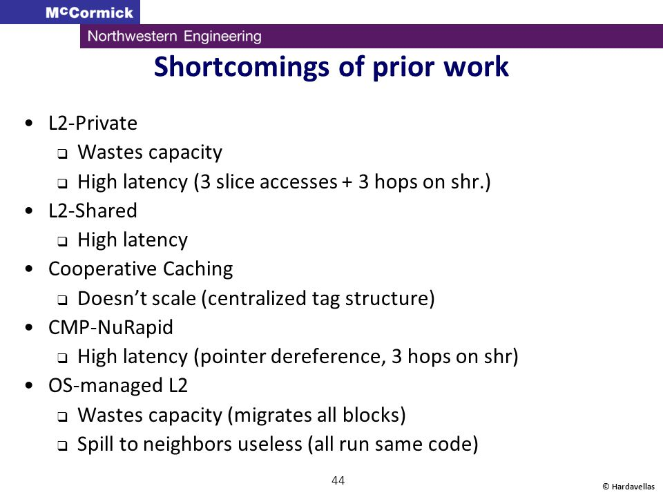 © Hardavellas 44 Shortcomings of prior work L2-Private  Wastes capacity  High latency (3 slice accesses + 3 hops on shr.) L2-Shared  High latency C