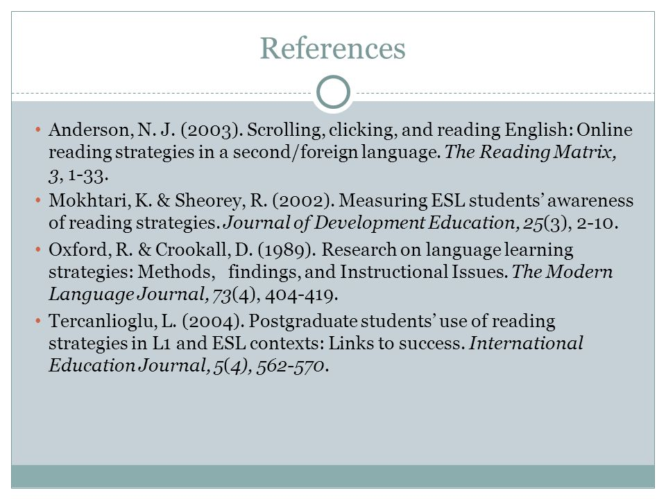 References Anderson, N. J. (2003). Scrolling, clicking, and reading English: Online reading strategies in a second/foreign language. The Reading Matri