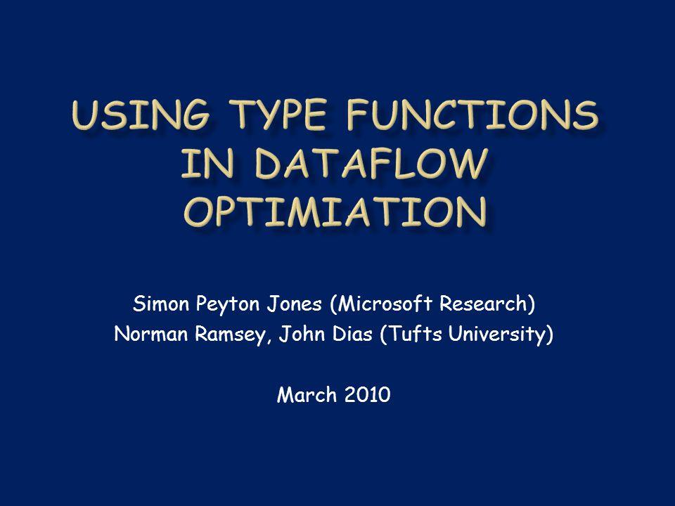 Simon Peyton Jones (Microsoft Research) Norman Ramsey, John Dias (Tufts University) March 2010