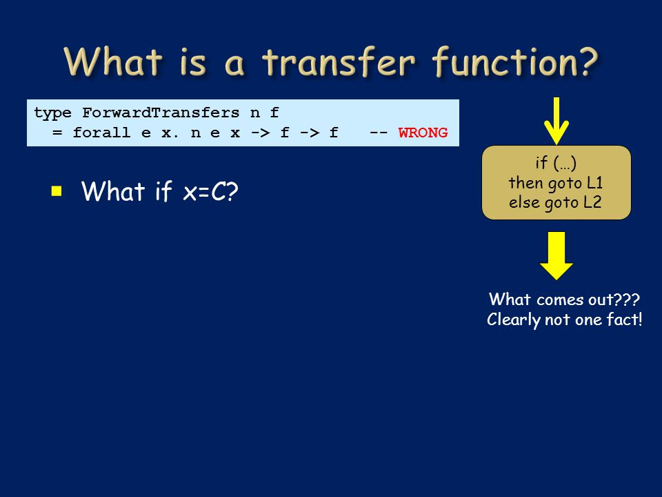  What if x=C. type ForwardTransfers n f = forall e x.
