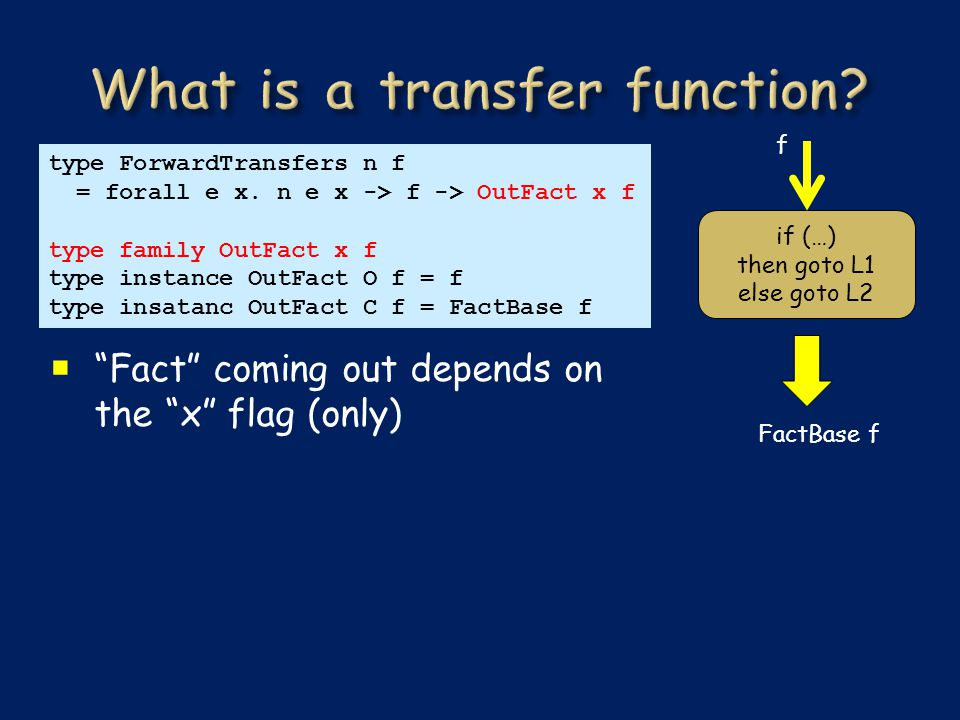  Fact coming out depends on the x flag (only) type ForwardTransfers n f = forall e x.