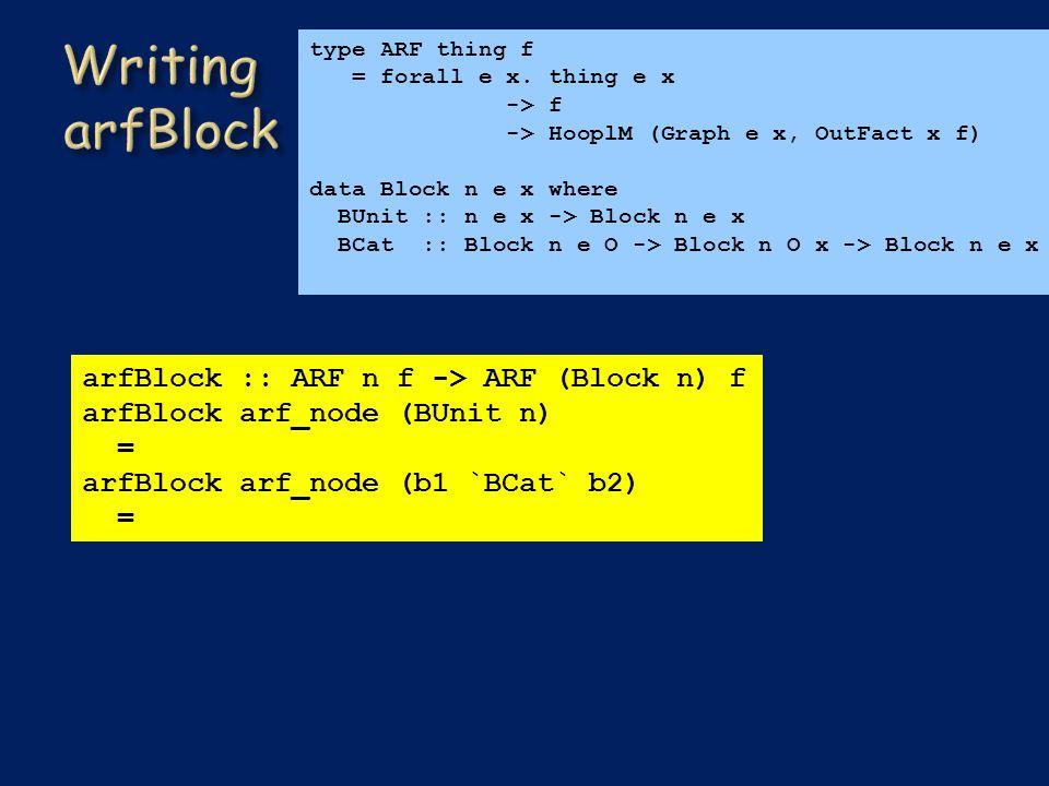 arfBlock :: ARF n f -> ARF (Block n) f arfBlock arf_node (BUnit n) = arfBlock arf_node (b1 `BCat` b2) = type ARF thing f = forall e x.