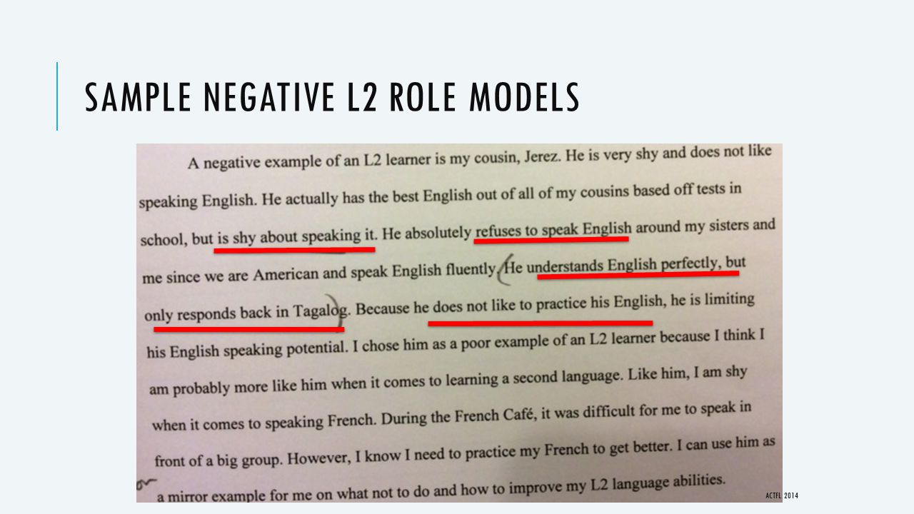 SAMPLE NEGATIVE L2 ROLE MODELS ACTFL 2014