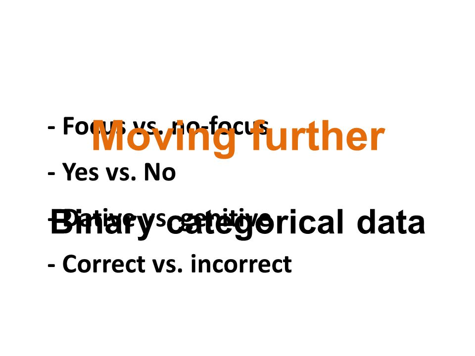 - Focus vs. no-focus - Yes vs. No - Dative vs. genitive - Correct vs.