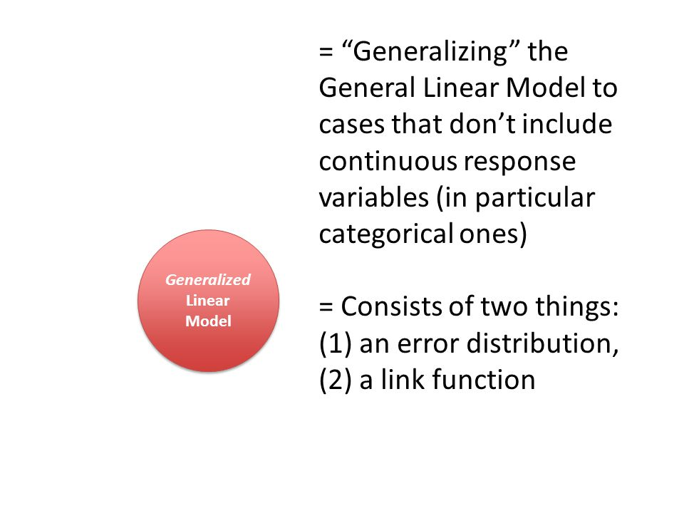 Generalized Linear Model Generalized Linear Model = Generalizing the General Linear Model to cases that don't include continuous response variables (in particular categorical ones) = Consists of two things: (1) an error distribution, (2) a link function