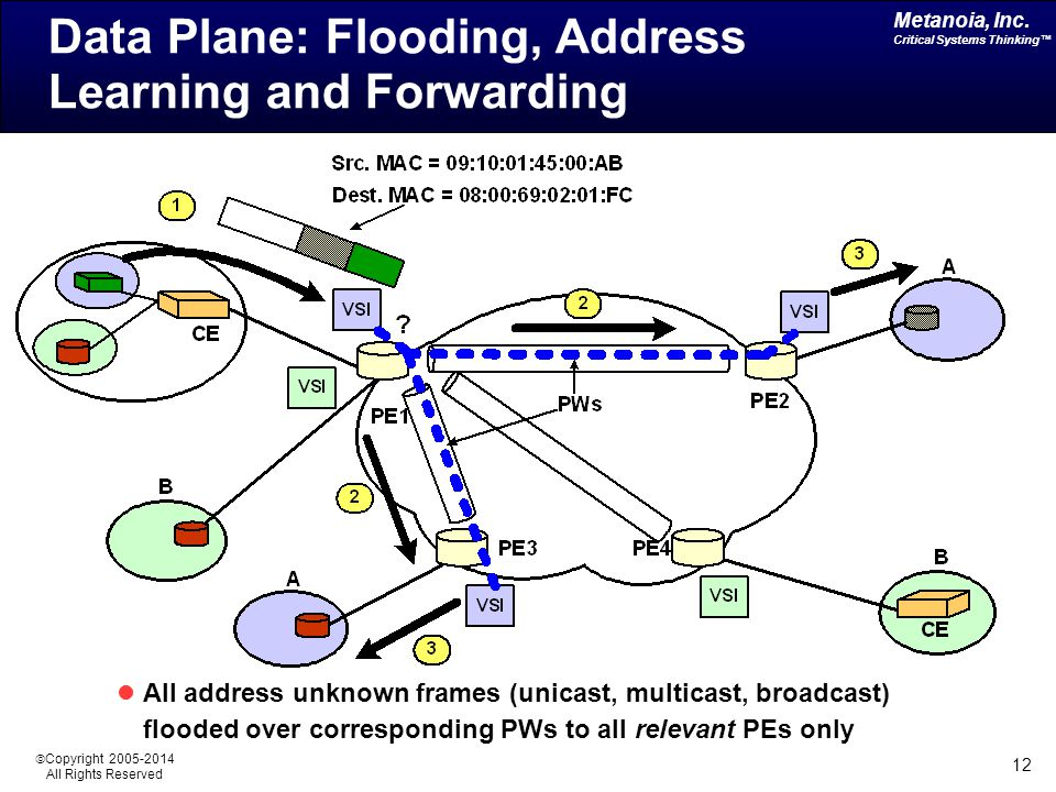 Metanoia, Inc. Critical Systems Thinking™  Copyright 2005-2014 All Rights Reserved 12 Data Plane: Flooding, Address Learning and Forwarding All addre