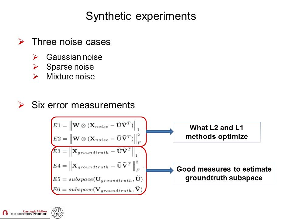 Good measures to estimate groundtruth subspace What L2 and L1 methods optimize Synthetic experiments  Six error measurements  Three noise cases  Ga