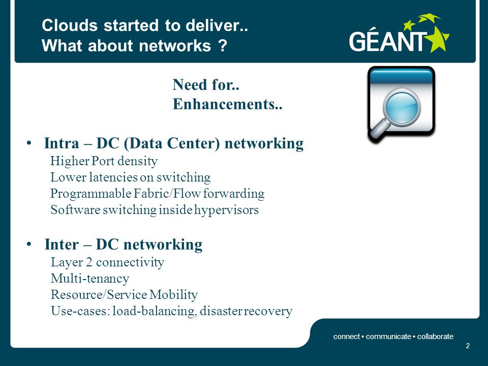 connect communicate collaborate Intra – DC Cloud Requirements 3 Cloud ComputingNetworking VM provisioningL2 net interface attachment VM grouping per tenantL2 private networking among VMs/tenant Scale up to millions VMs Scale up to hundreds of thousands groups Scale up to hundreds of thousands L2 private nets VM mobility VM net profile portability Net reconstruction across the Net Fabric (beyond legacy scripts) Clouds generate Requests