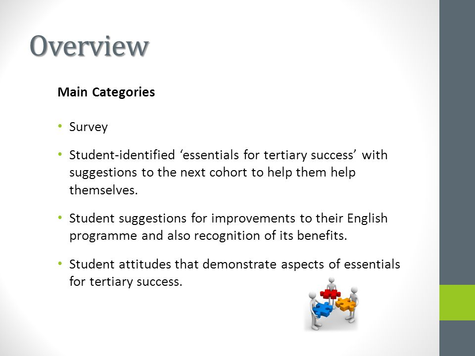 Overview Main Categories Survey Student-identified 'essentials for tertiary success' with suggestions to the next cohort to help them help themselves.