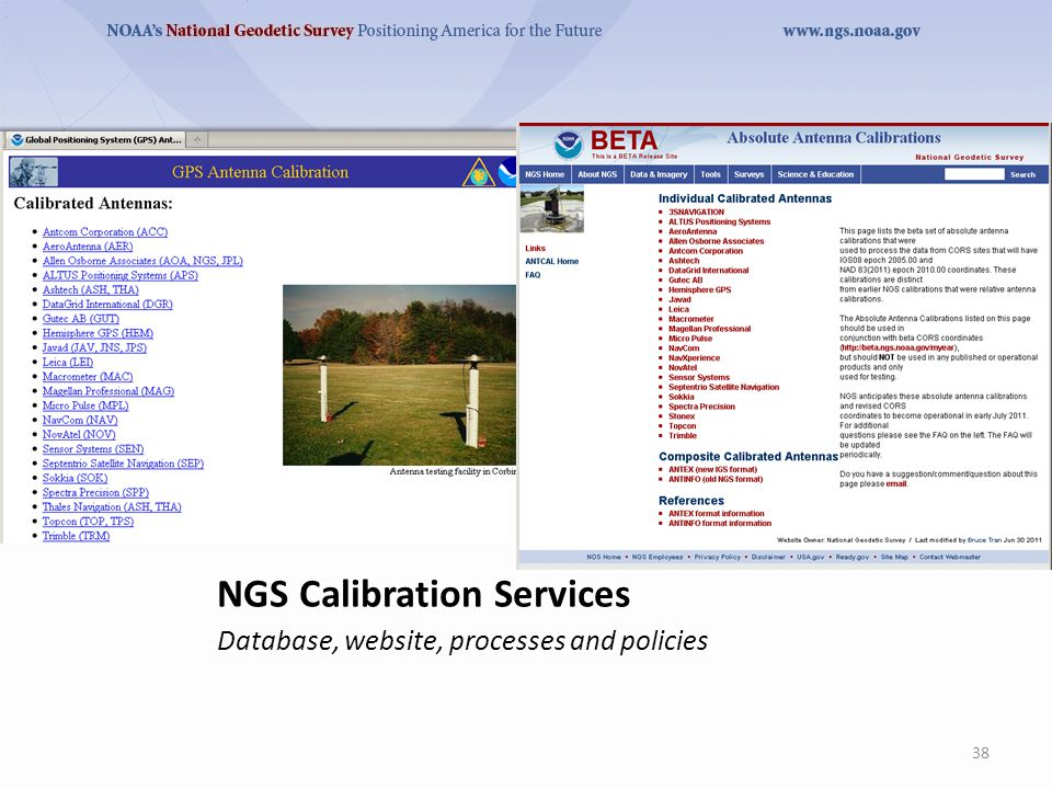 NGS Calibration Services Database, website, processes and policies 38