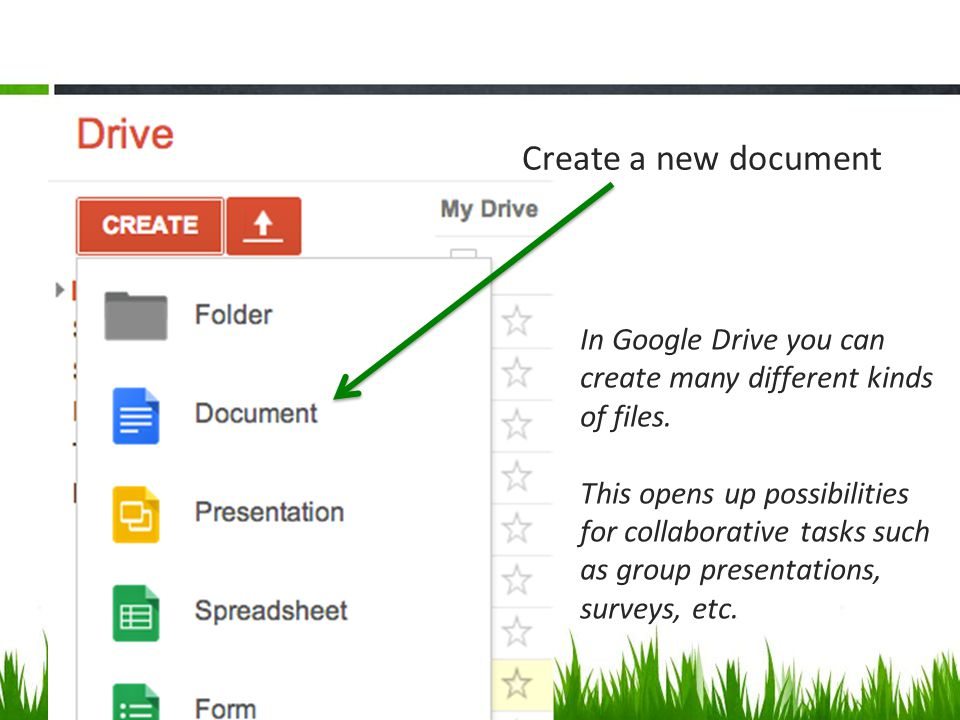 In Google Drive you can create many different kinds of files.