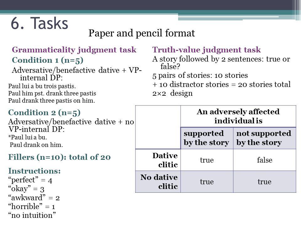6. Tasks Grammaticality judgment task Condition 1 (n=5) Adversative/benefactive dative + VP- internal DP: Paul lui a bu trois pastis. Paul him pst. dr