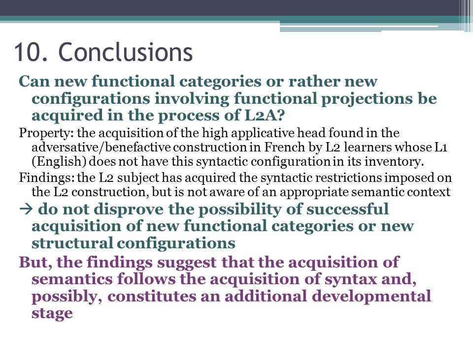 Can new functional categories or rather new configurations involving functional projections be acquired in the process of L2A.