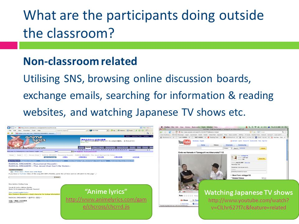 What are the participants doing outside the classroom? Non-classroom related Utilising SNS, browsing online discussion boards, exchange emails, search