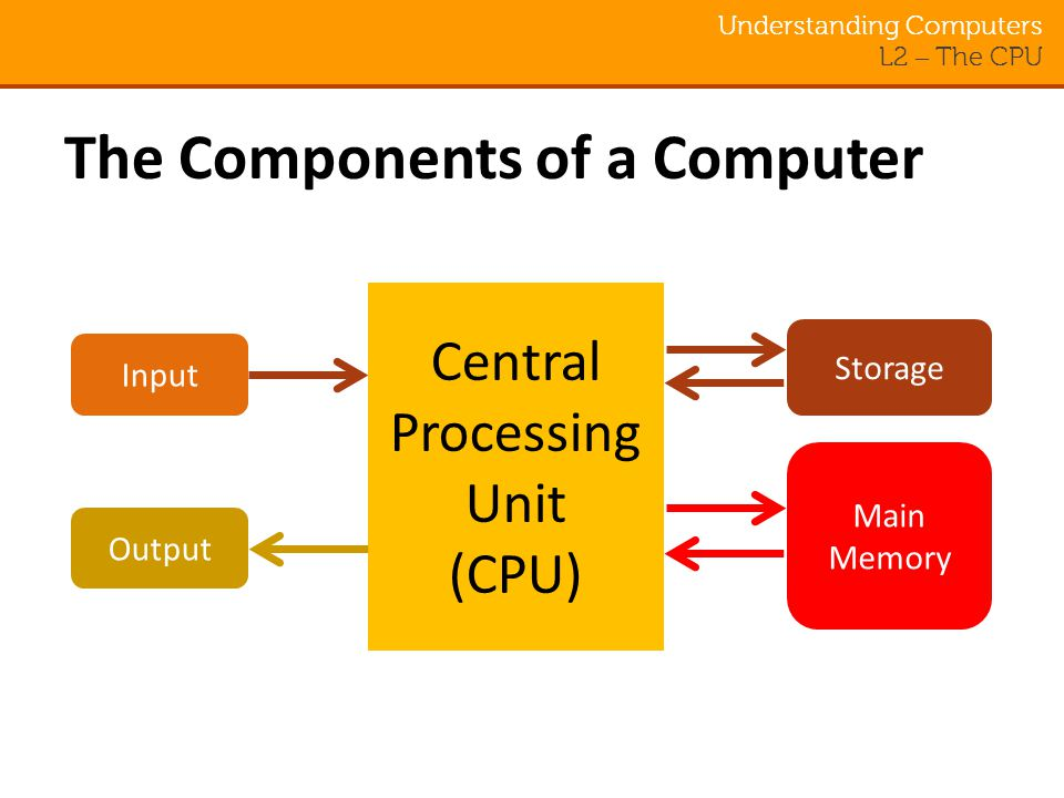 Understanding Computers L2 – The CPU The Components of a Computer Central Processing Unit (CPU) Input Output Main Memory Storage