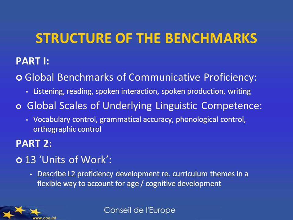 STRUCTURE OF THE BENCHMARKS PART I: Global Benchmarks of Communicative Proficiency: Listening, reading, spoken interaction, spoken production, writing
