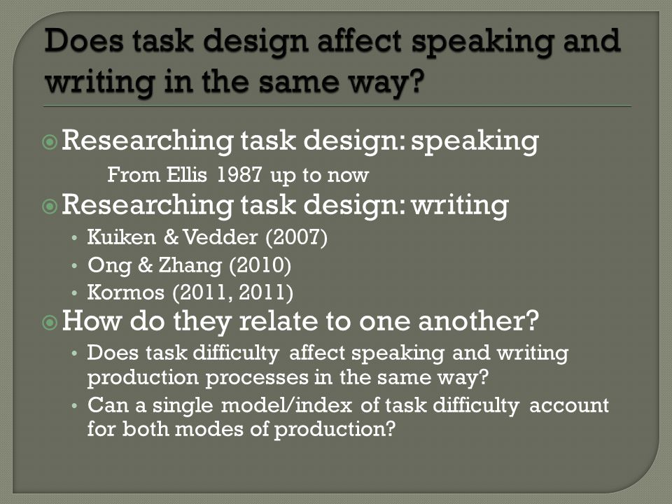 Researching task design: speaking From Ellis 1987 up to now  Researching task design: writing Kuiken & Vedder (2007) Ong & Zhang (2010) Kormos (2011, 2011)  How do they relate to one another.