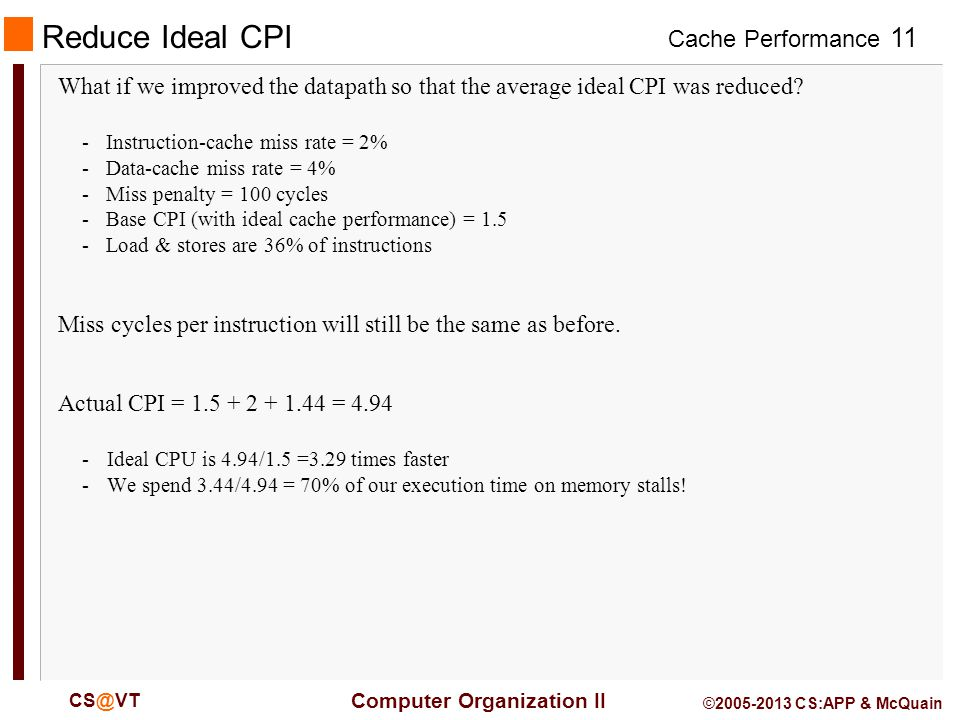 Cache Performance 11 Computer Organization II CS@VT ©2005-2013 CS:APP & McQuain Reduce Ideal CPI What if we improved the datapath so that the average ideal CPI was reduced.